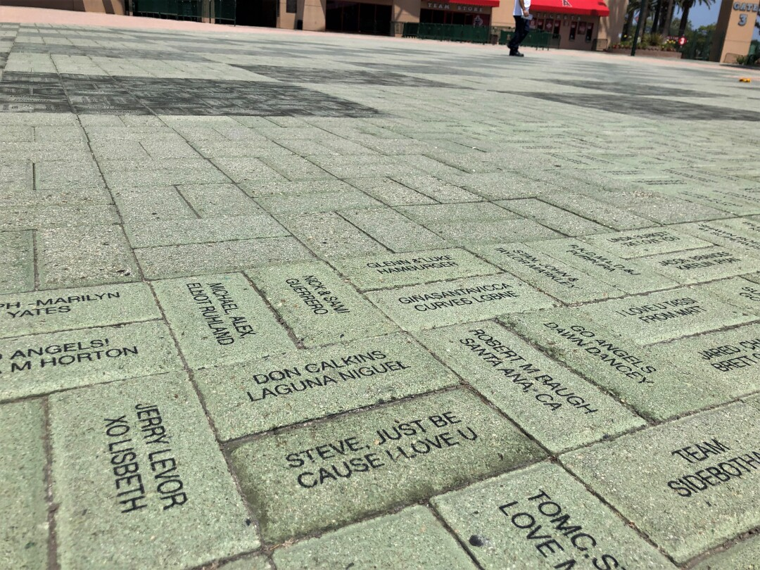 A section of bricks outside Angel Stadium's home-plate entrance.