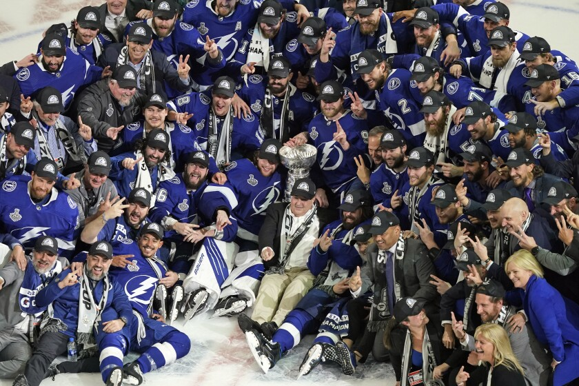 The Tampa Bay Lightning with the Stanley Cup after Game 5.