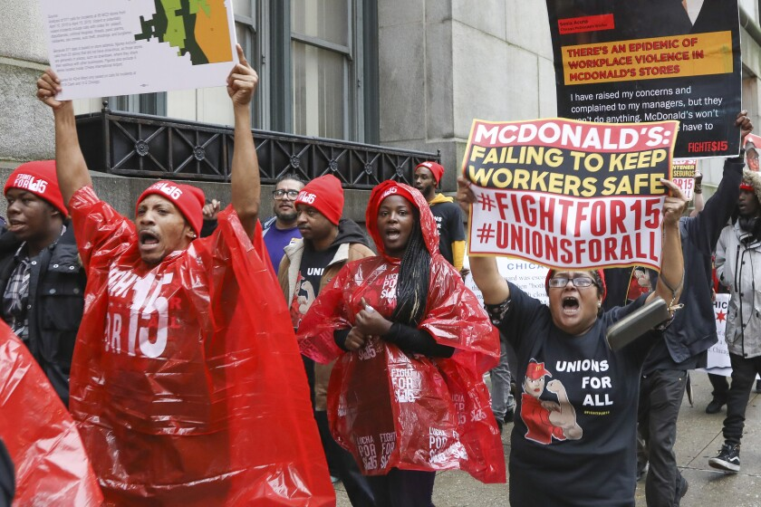 McDonald's employees protest in Chicago