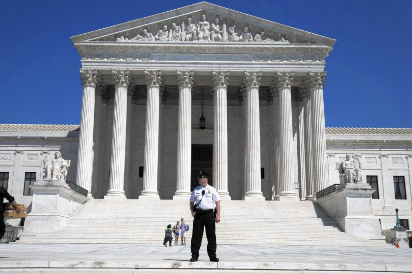 Supreme Court justices sounded likely to side with a fired community college official who lost a free-speech lawsuit against the college president who dismissed him. Above, the Supreme Court building in Washington.