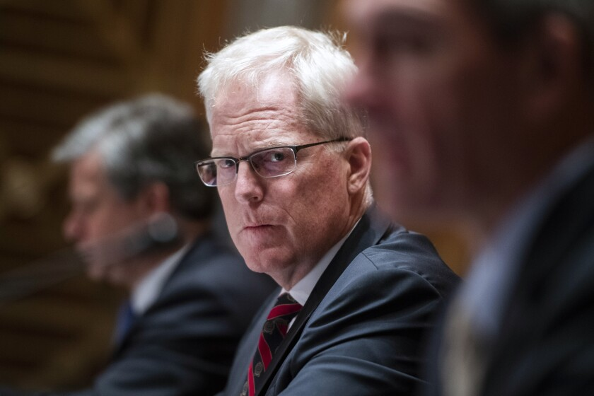 Christopher Miller listens during a Senate Homeland Security and Governmental Affairs Committee hearing