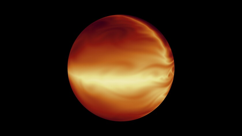 """This simulation shows the turbulent atmosphere of a hot, gaseous planet. A new study finds that twin star systems may be linked to the formation of """"hot Jupiters."""""""