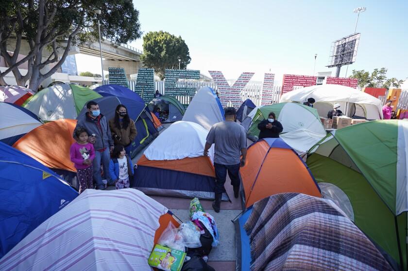Asylum seekers set up tents in Tijuana