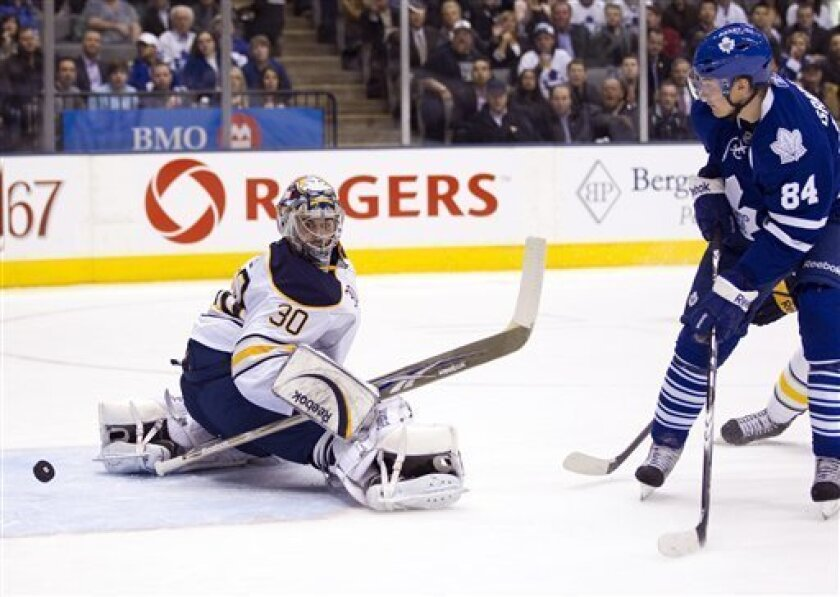 Toronto Maple Leafs center Mikhail Grabovski scores on Buffalo Sabres goaltender Ryan Miller (30) during the second period of an NHL hockey game in Toronto on Tuesday, March 29, 2011. (AP Photo/The Canadian Press, Frank Gunn)