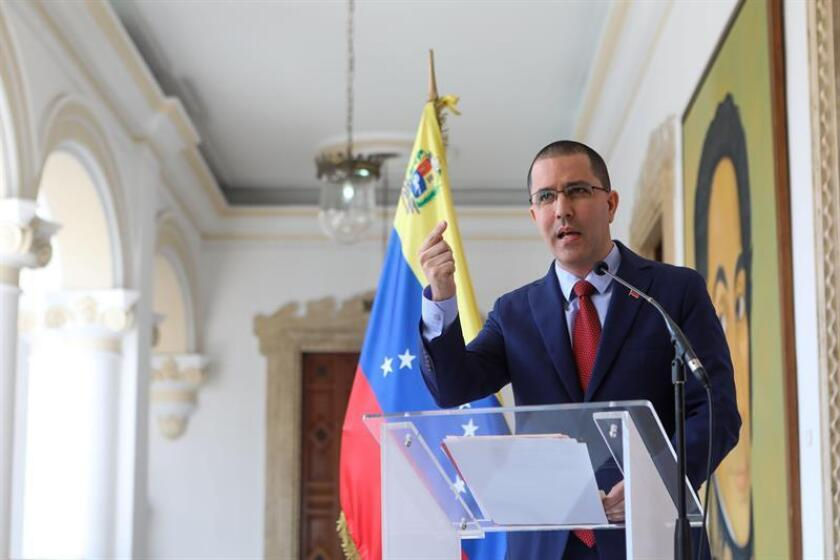 Venezuelan Foreign Minister Jorge Arreaza speaks to reporters on Jan. 12, 2019, during which he proposed a summit of Latin American countries that would help do away with political intolerance, which, he said, is being applied in the region against the Nicolas Maduro government. EFE-EPA/Cristian Hernandez
