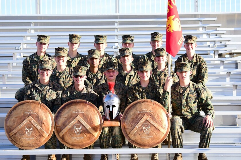 Fallbrook High School's Marine Corps JROTC Raiders took three first-place awards and placed second overall out of 22 teams at a recent competition. Back row, from left: cadets Rodriguez, Suppe, Tipane, Suppe, Prefontaine and Chase. Center row: cadets Gillcrist, Richardson, Torres and Heath. Front row: cadets Anglin, Regan, Rossi, Posey and Varese. Not pictured: cadets Vargas, Diaz, Willess, Garcia, Fernando, Leon-Solis, Ruiz, Rivera and Grantham.