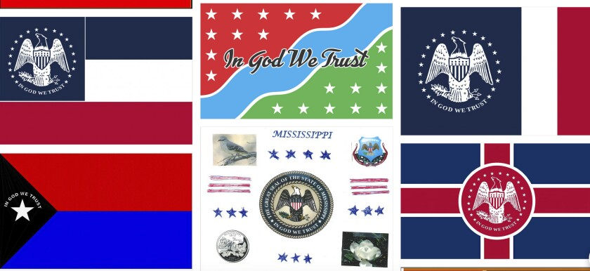 """Magnolias, stars, a Gulf Coast lighthouse, a teddy bear, and even Kermit the Frog appear on some of the over 1,800 proposals submitted by the general public for a new Mississippi flag and posted Monday, Aug. 3, 2020, on the Mississippi Department of Archives and History web site. The state recently retired the last state banner with the Confederate battle emblem that's widely condemned as racist and a nine-member commission will design a replacement that cannot include the Confederate symbol and must have the phrase, """"In God We Trust."""" (Mississippi Department of Archives and History, via AP)"""