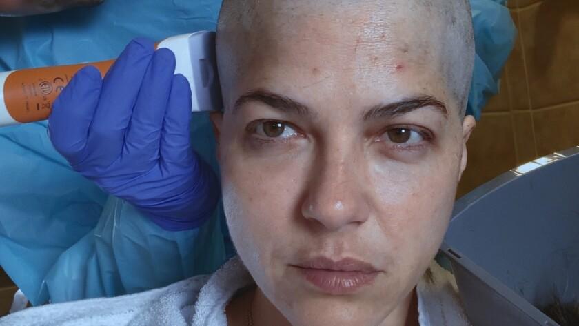 "Selma Blair has her head shaved in the documentary ""Introducing, Selma Blair."""