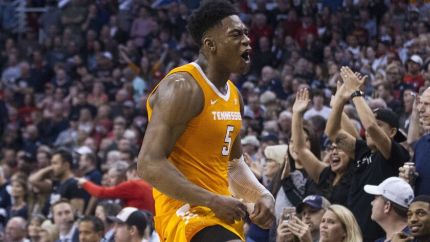 Admiral Schofield celebrates after Tennessee upset Gonzaga in the Colangelo Classic on Sunday.