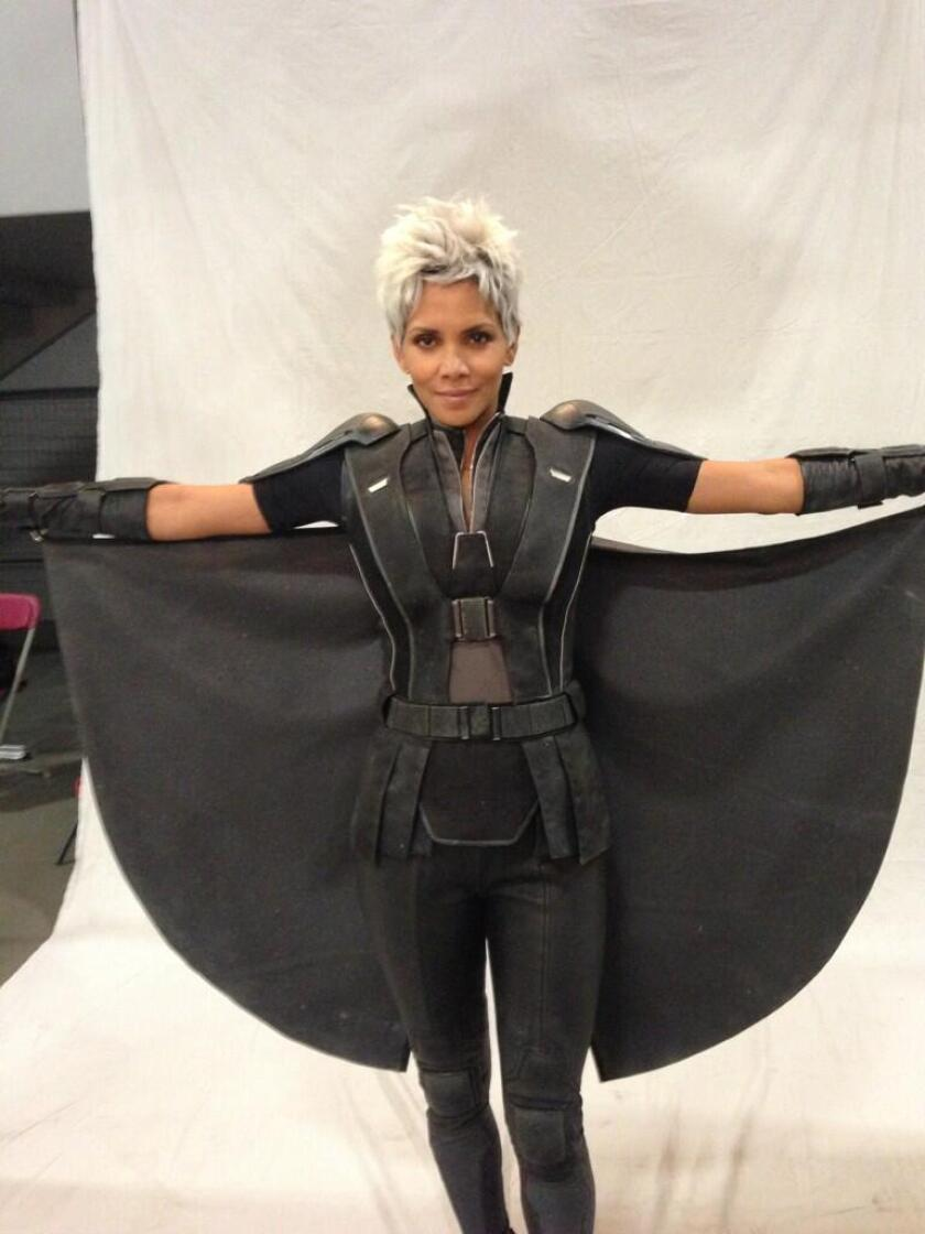 """Halle Berry in costume as Storm for """"X-Men: Days of Future Past."""""""