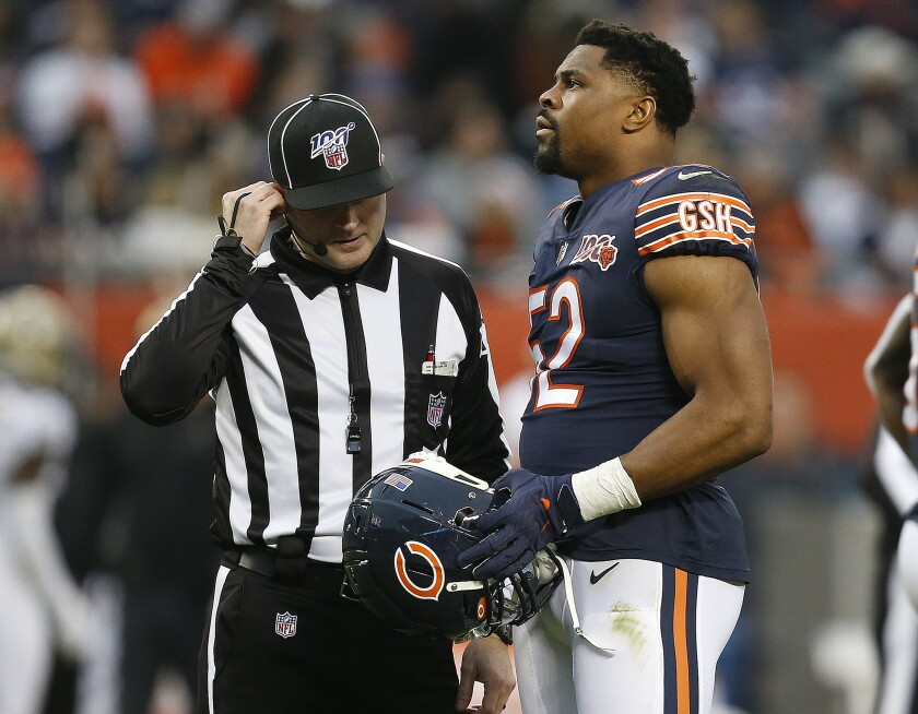 The Bears' Khalil Mack talks to an official during Chicago's 36-25 loss to New Orleans on Oct. 20.