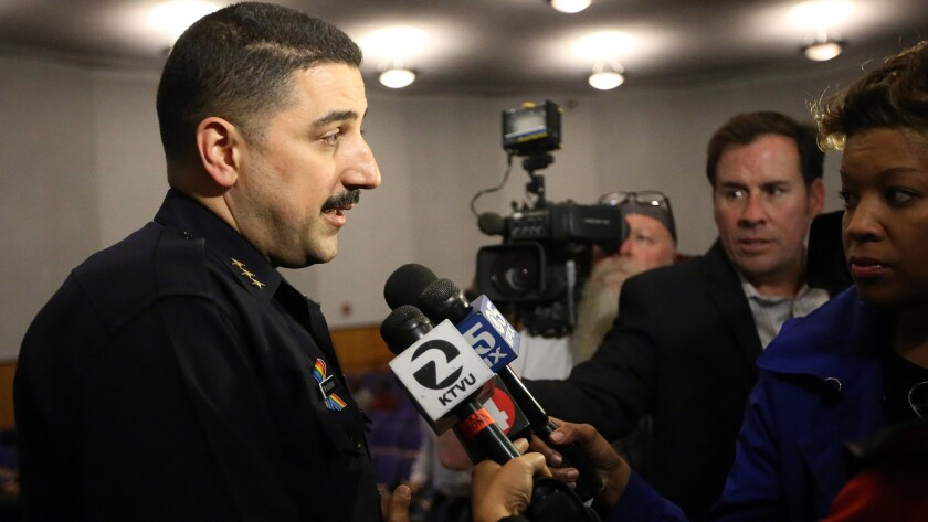 Acting Oakland Police Chief Paul Figueroa, talking to reporters earlier in the week, has left the post. His departure marks the third time in eight days the city has seen its top police official depart.