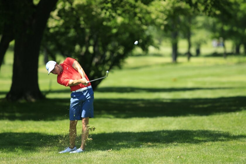 Jamie Lovemark hits from the rough during his U.S. Open sectional qualifier in Purchase, N.Y. The Torrey Pines High alum missed reaching his first U.S. Open by one shot.