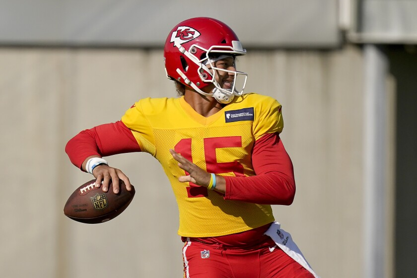 Kansas City Chiefs quarterback Patrick Mahomes passes during a training camp practice.