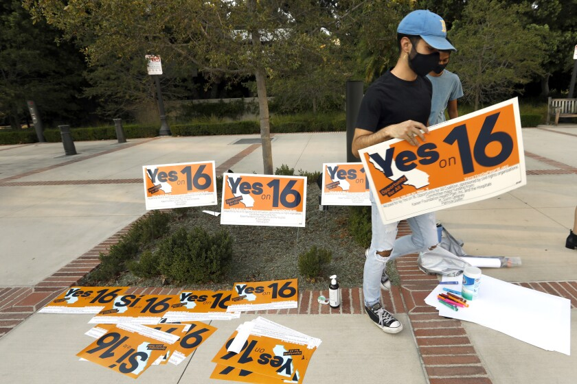 Proposition 16 proponents organize a rally at UCLA.