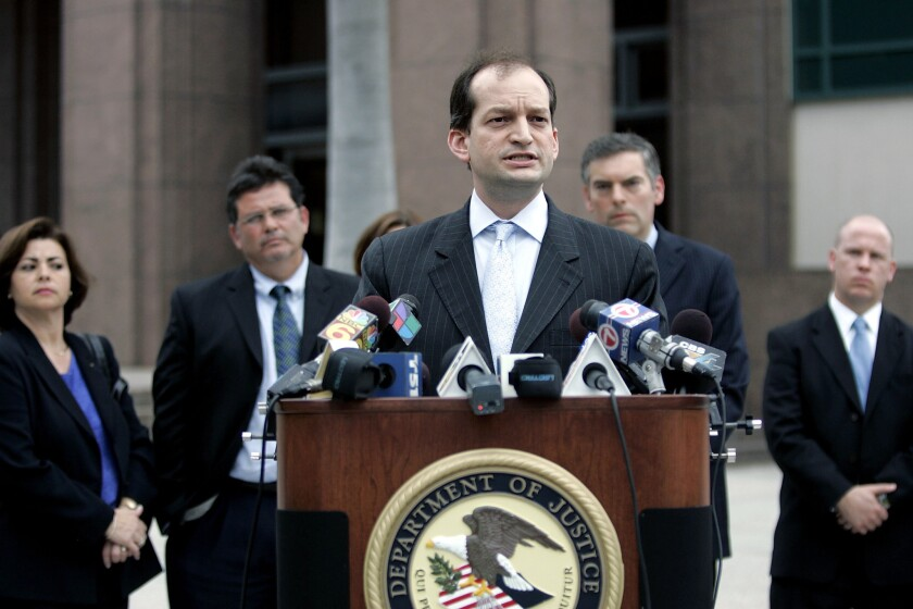 R. Alexander Acosta, shown in 2007 while serving as U.S. attorney for the Southern District of Florida, is President Trump's new pick for Labor secretary.