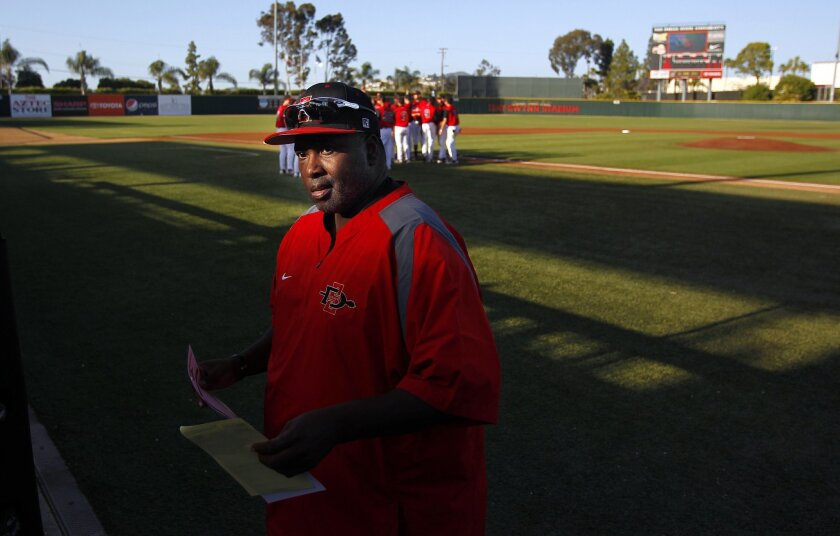 SDSU baseball coach Tony Gwynn walks back to the dugout after meeting with umpires before a game against Loyola Marymount on Tuesday, May 15, 2012.