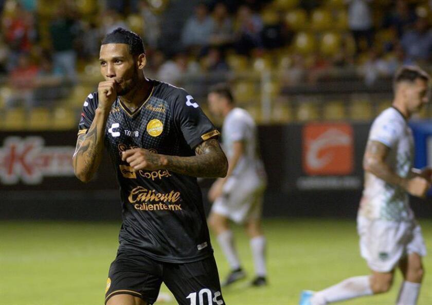 The Dorados player Vinicio Angulo celebrates after scoring against Cafetaleros on Sept.17, 2018, at the Banorte stadium in the city of Culican, Sinaloa (Mexico). EPA- EFE FILE/Juan Carlos Cruz