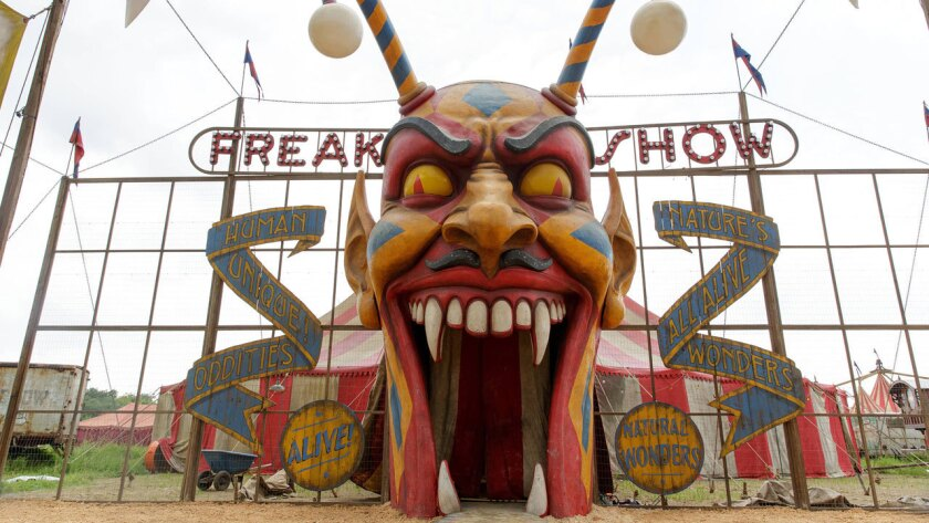 "Shown is a set from the FX series ""American Horror Story: Freak Show."""