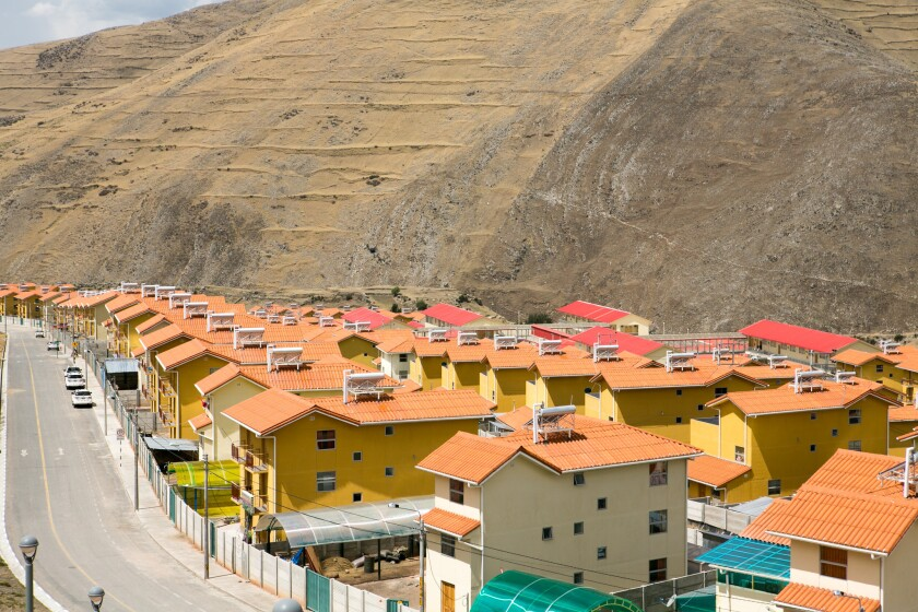 Nueva Fuerabamba, a newly constructed town built by MMG for Peruvians displaced by Las Bambas mine.