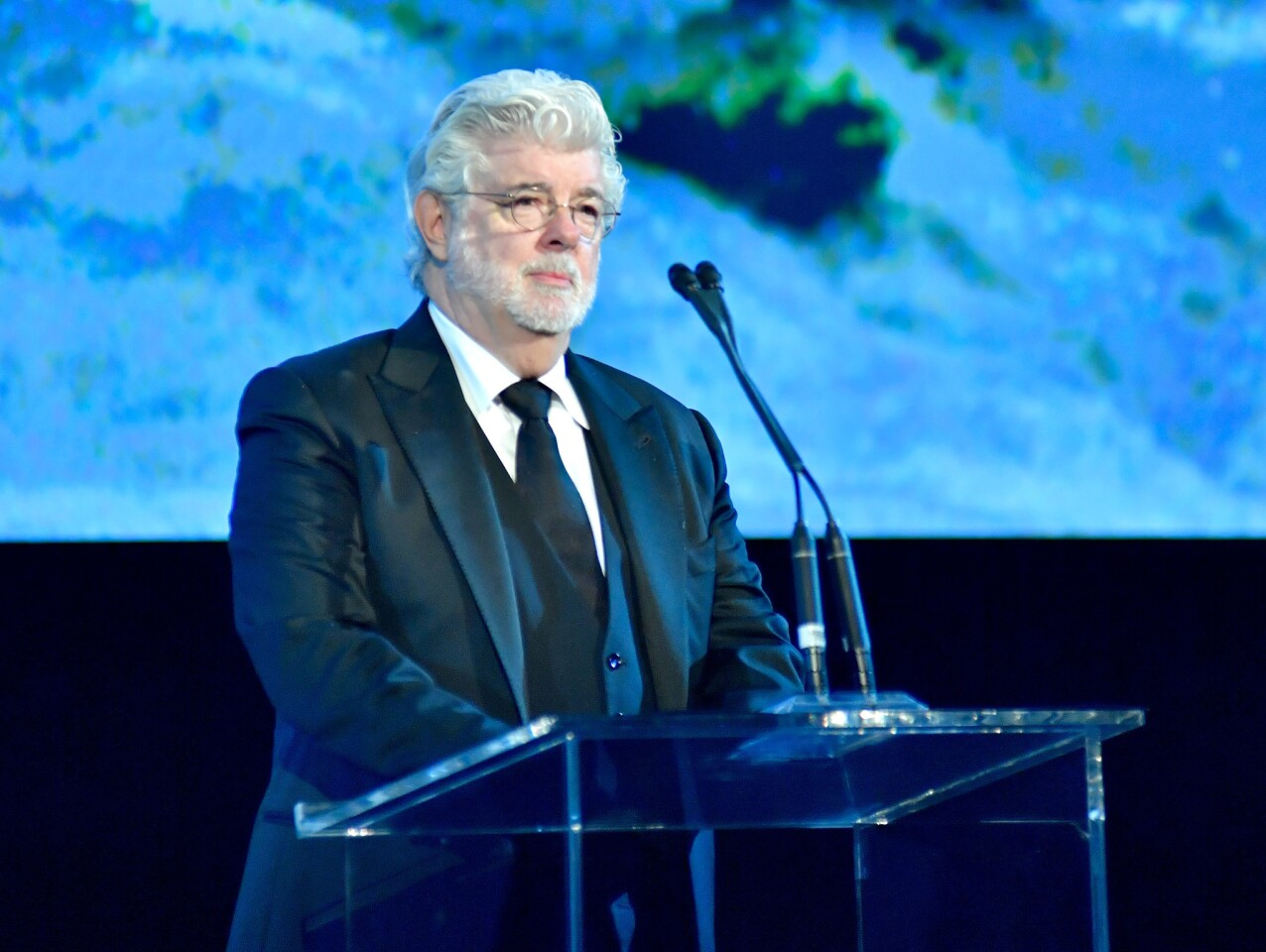 Honoree George Lucas accepts an award during the 2017 LACMA Art + Film Gala Honoring Mark Bradford and George Lucas at LACMA in Los Angeles.