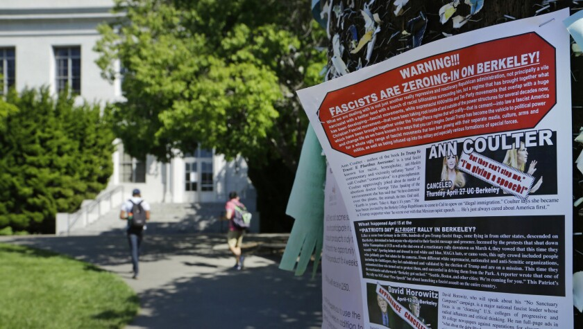 A leaflet detailing the controversy over a speech by Ann Coulter is stapled to a message board near Sproul Hall on the UC Berkeley campus.