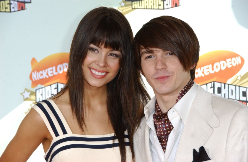 Actor Drake Bell with then-girlfriend Melissa Lingafelt at the 2007 MTV Video Music Awards.