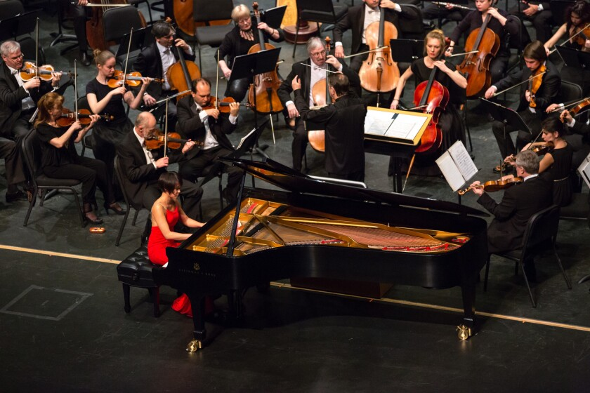 Yuja Wang performs with the Russian National Orchestra on Friday at Valley Performing Arts Center in Northridge.