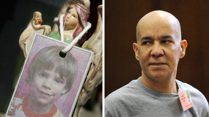 A photograph of Etan Patz, left, hangs on an angel figurine at a memorial in 2012. Pedro Hernandez, right, in court in 2012.
