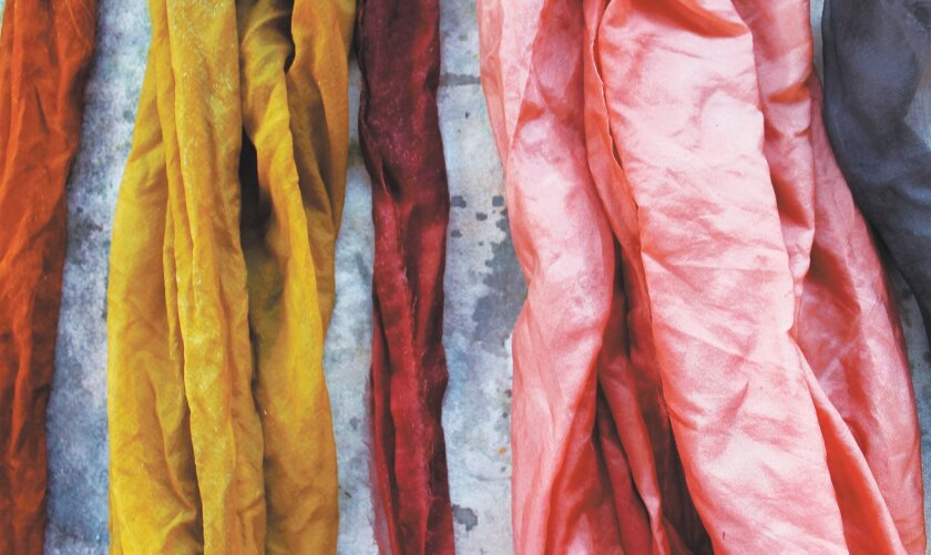 "Sasha Duerr created these ""compost colors"" for dyeing fabrics with different combinations of onion skins, avocado pits, alum salts, soda ash and iron."