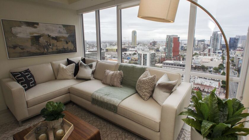 Living room from one of the two bedroom units with view to the south at The Rey Apartment building in downtown San Diego.
