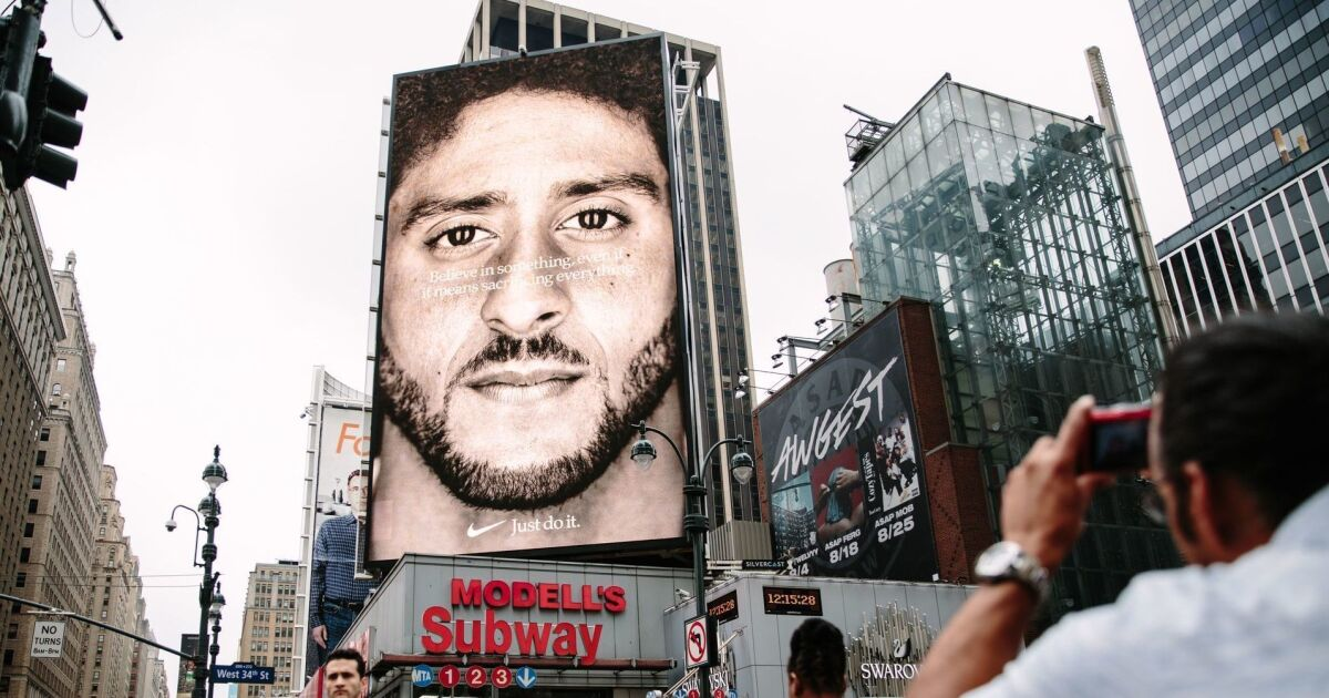 Don T Let Colin Kaepernick S Message Get Swamped By The Nike Swoosh Los Angeles Times