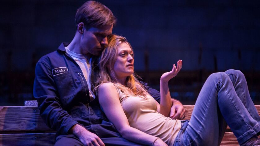 "Josiah Bania and Marin Ireland star in ""Ironbound"" at the Geffen Playhouse."