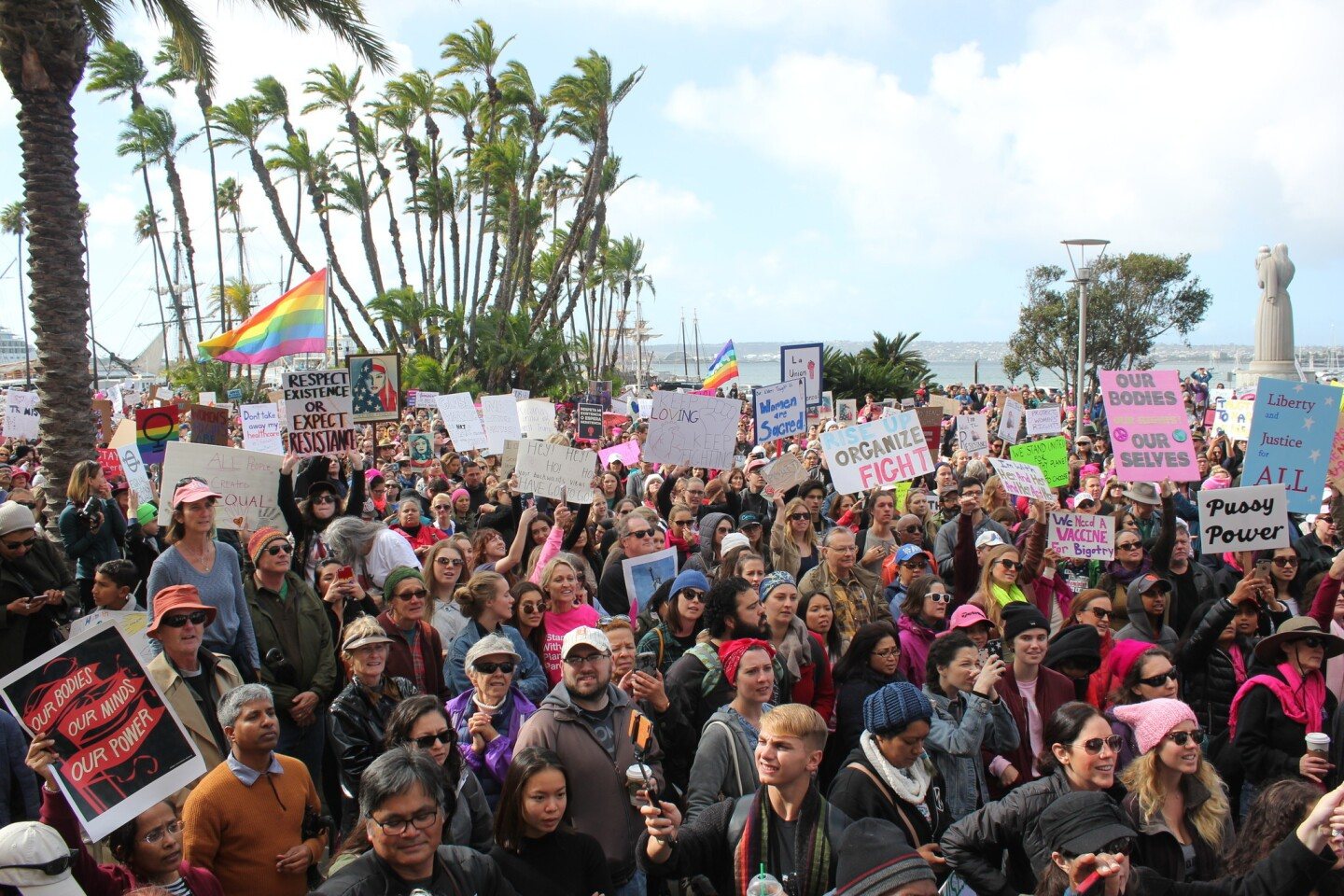 Protestors reach the San Diego County Administration Building entrance at Waterfront Park, which marked the end of the San Diego Women's March.