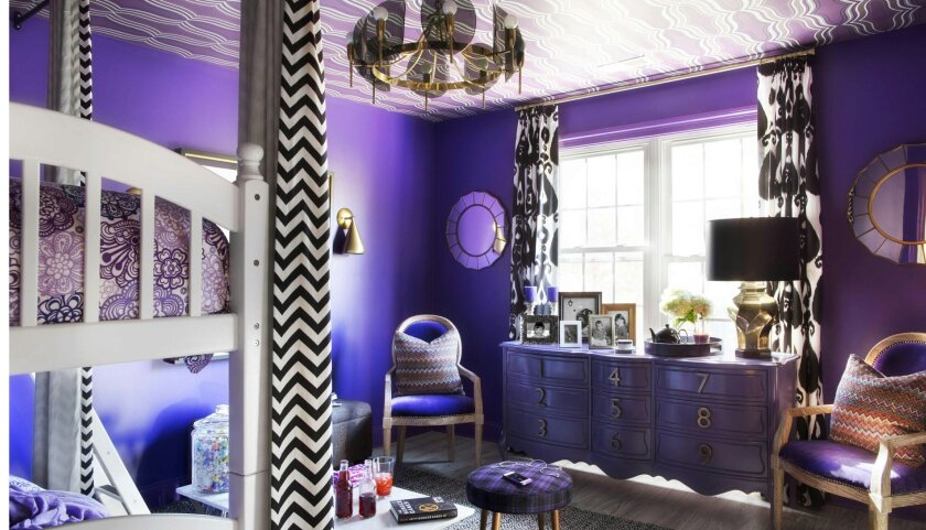 """Brian Patrick Flynn created a """"tween"""" girl's room for HGTV.com that features a red-violet paint similar to the 2014 Pantone color of the year."""