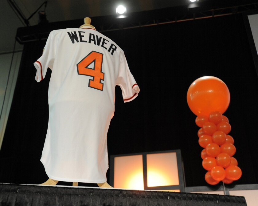 The jersey of former Orioles manager Earl Weaver was displayed at the main stage of FanFest. Weaver died the night before.