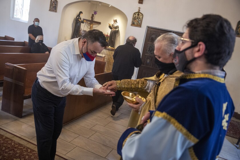 Parishioners during communion