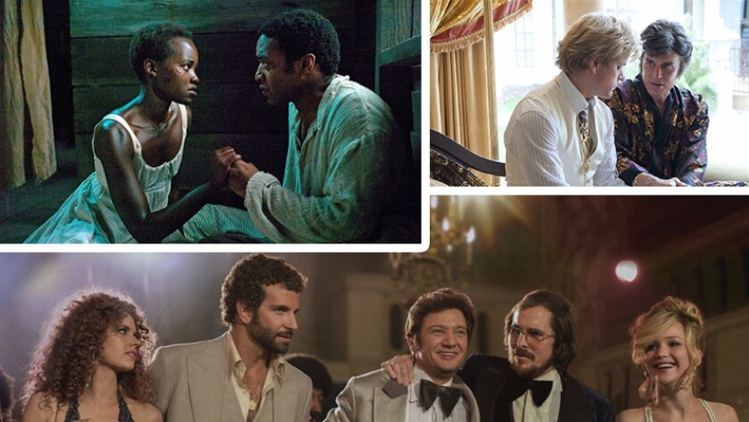 """From top left, """"12 Years a Slave,"""" """"Behind the Candelabra"""" and """"American Hustle"""" are big contenders at this year's Golden Globes."""