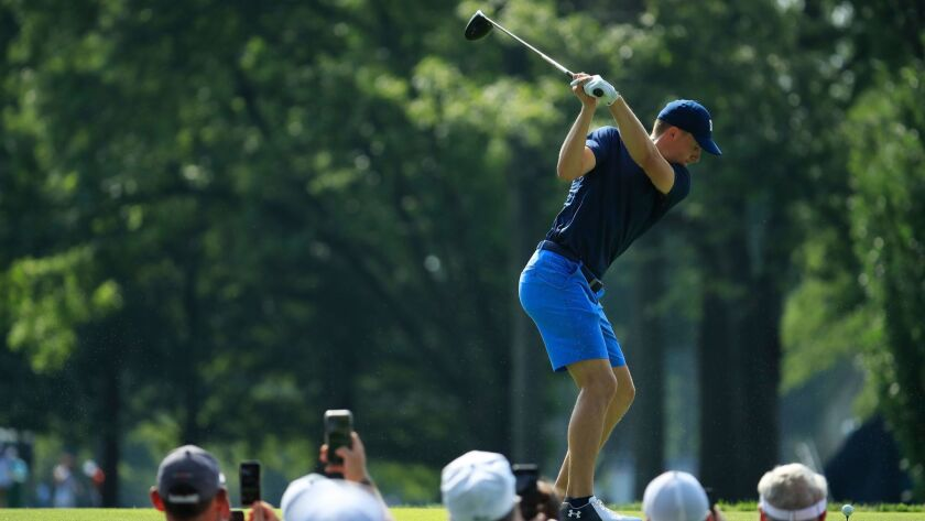 Jordan Spieth of the United States plays his shot from the fifth tee during a practice round for the 2018 PGA Championship at Bellerive Country Club on Monday in St. Louis.