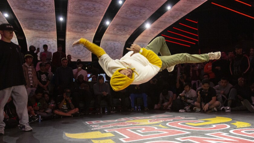 B-boy Yuri performs in a battle during the Red Bull BC One All Star Tour on April 27, 2019 at Academy LA in Hollywood.