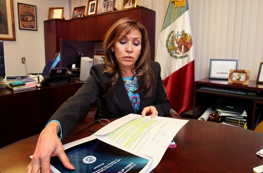 Remedios Gomez Arnau, the Consul General of San Diego's Mexican Consulate on India Street, in her office, reaches for a U.S. Government booklet that addresses Department of Homeland Security use of force. She spoke against the recent Border Patrol shooting of a rock throwing migrant on the border,