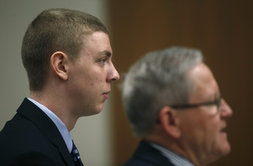 Brock Turner appears in a Palo Alto courtroom on Feb. 2, 2015.