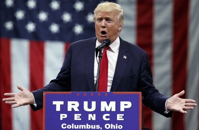 Republican presidential candidate Donald Trump speaks during a town hall event in Columbus, Ohio.