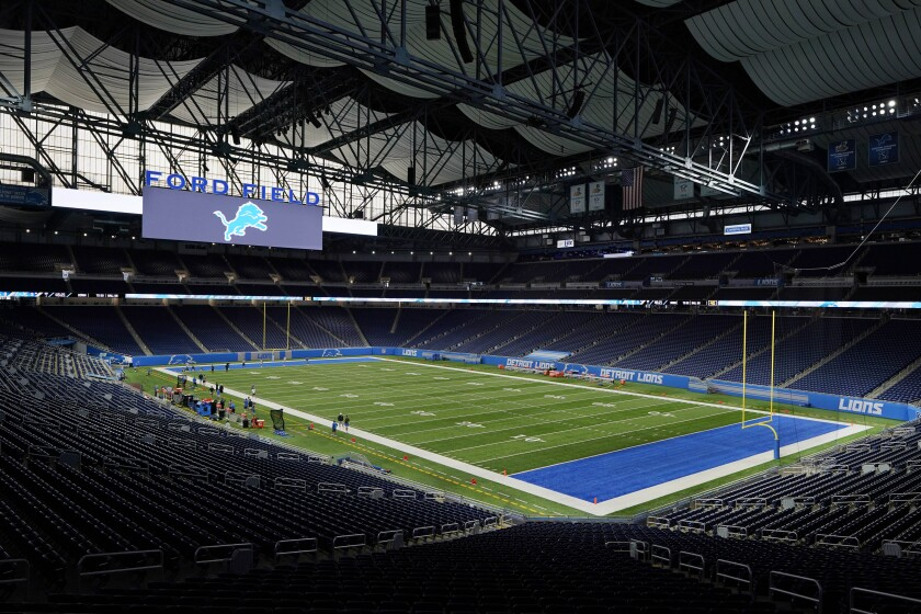 Ford Field, home to the Detroit Lions, is seen before drills at an NFL football practice, Wednesday, Sept. 2, 2020, in Detroit. (AP Photo/Carlos Osorio)