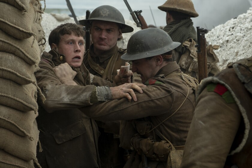 "George MacKay, left, in the recent best picture contender ""1917."""