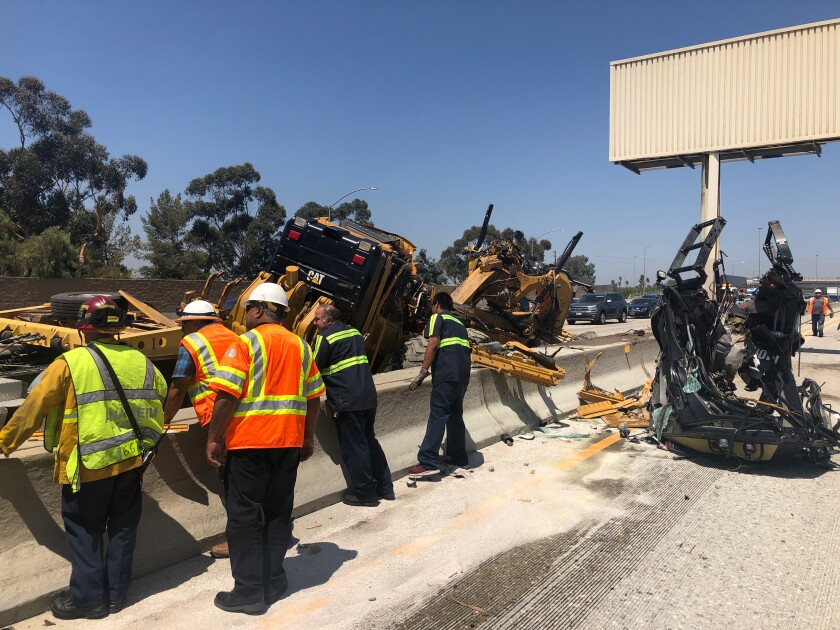 Semi-truck accident on northbound 57 Freeway