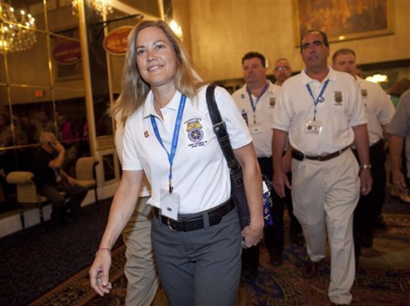 New York City Local 805 President Sandy Pope arrives at the International Brotherhood of Teamsters convention, Monday, June 27, 2011, in Las Vegas. Last fall Pope announced that she would run against current general president, James Hoffa in this year's elections. Nominations for the presidency wil