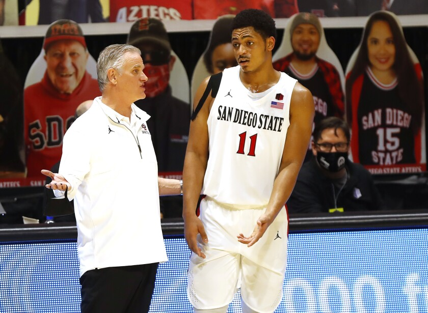 SDSU coach Brian Dutcher talks with Matt Mitchell during a game against Colorado State in January.