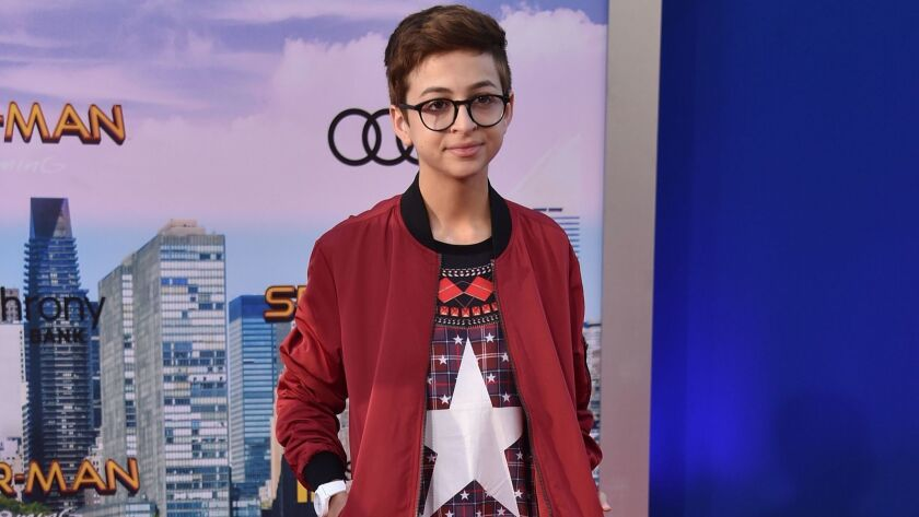 """J.J. Totah at the premiere of """"Spider-Man: Homecoming"""" at TCL Chinese Theatre in Hollywood, Californ"""