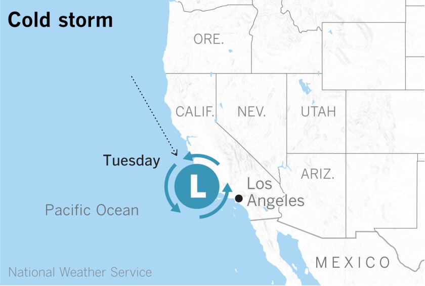 Map showing storm and Southern California